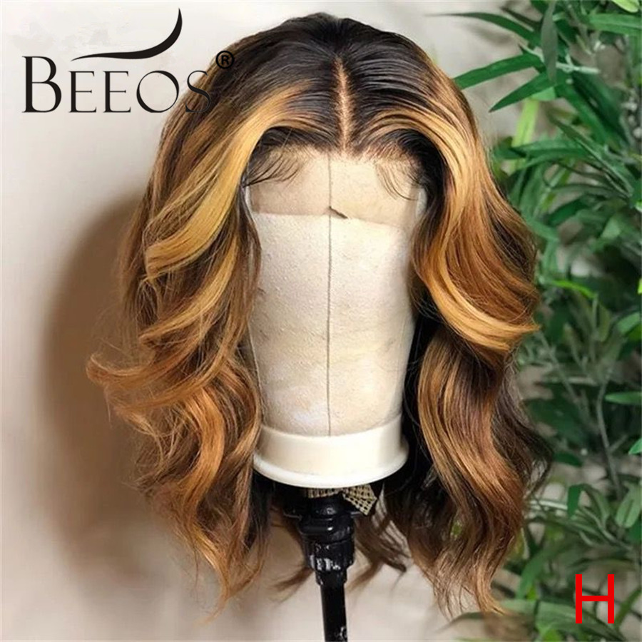 Beeos 150% 13*6 Lace Front Human Hair Wigs Highlights Colored Body Wave Pre Plucked With Baby Hair Bleached Knots Brazilian Remy