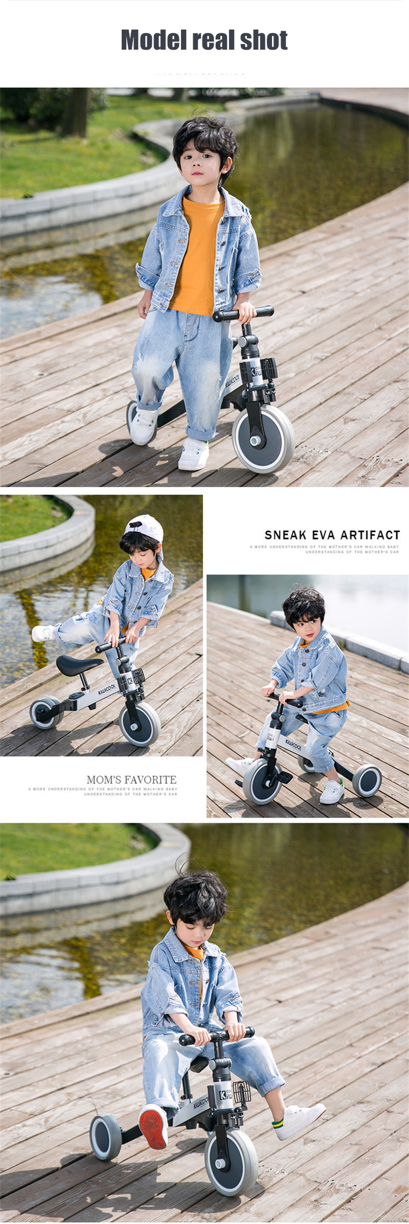 Hb5d65934fb364e088fee453449f09c473 3 in 1 Kids Tricycle + Balance bike + Baby walker Child Push Bike Toddler Learn to Ride Bicycle Ride On Toy Boy Girl Xmas Gift
