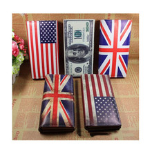 Womens Wallets and Purses Card Case USD UK Flag PU Leather L