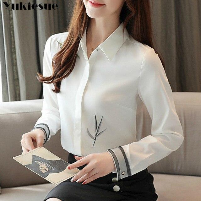 2020 Autumn New Fashion Women Blouse Embroidery White Shirt Long Sleeve Casual Tops Loose Shirt Blusas Feminina Plus size 1