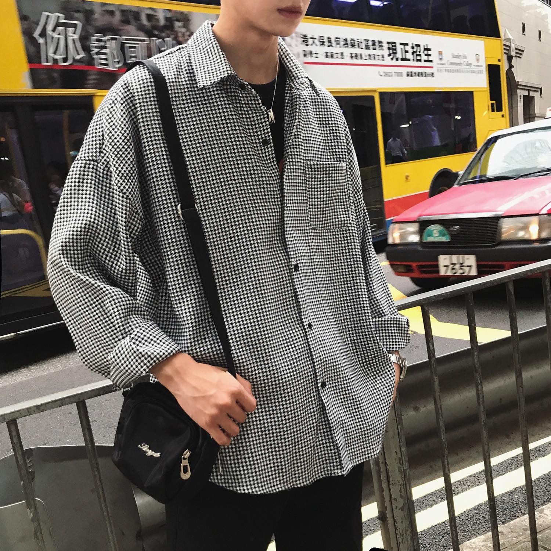 2019 Long Sleeve Swallow Gird Streetwear Oversize Casual Fashion Dress Men Shirts