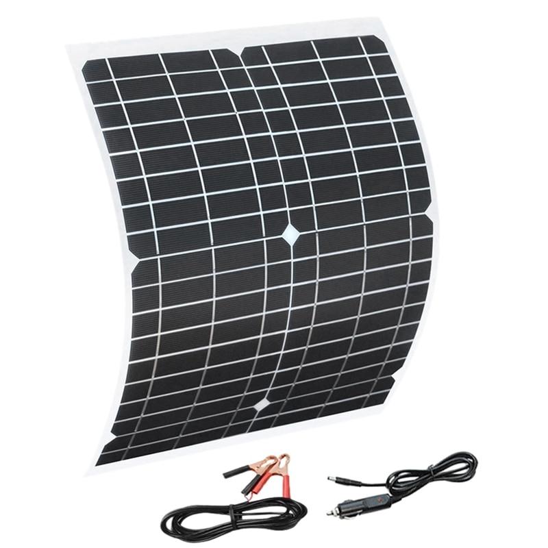 Flexible Solar Panel 20W Panels Solar Cells Cell Module DC for Car Yacht Light RV 12V Battery Boat 5V Outdoor Charger