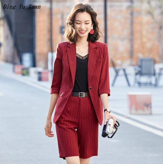 Half Sleeve Blazer and Shorts Two 2 Piece Set Suite Women 2020 New Summer Black White Red Striped Office Work Short Pants Suits