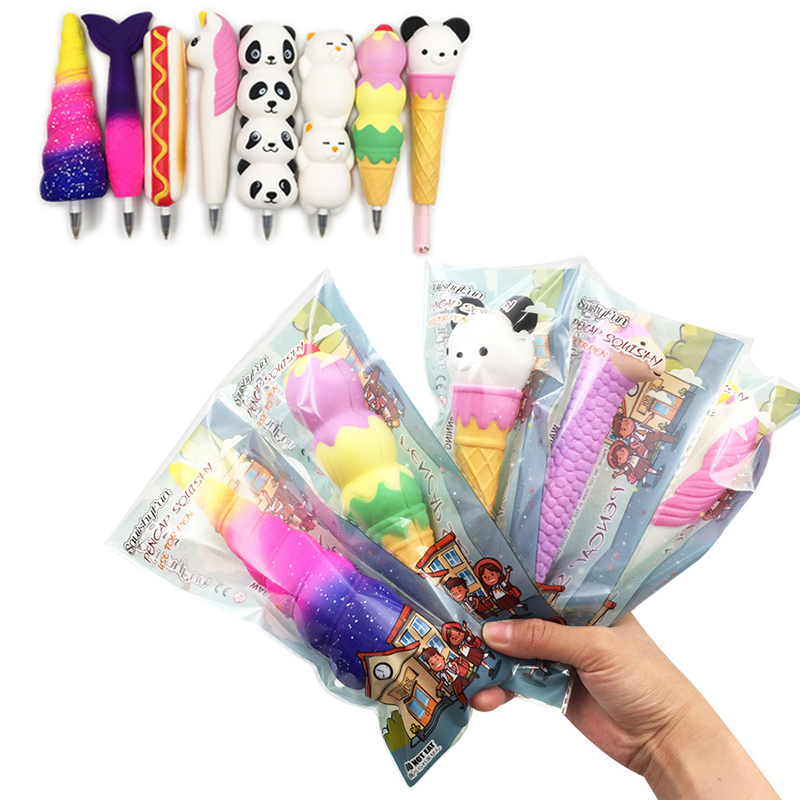 New Squishy Slow Rising Panda Unicorn Mermaid Lazy Cat Sheep  Pen Cap Stationery Pencil Holder Squeeze Toys For Children