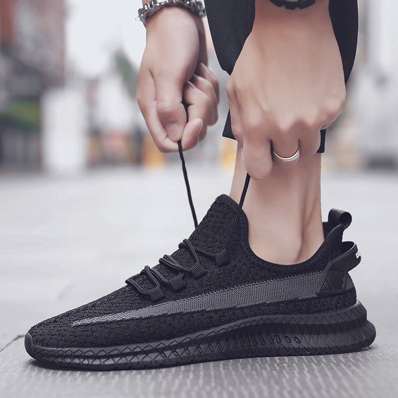 new flying woven men's shoes breathable wear casual sports shoes running  shoes mesh shoes