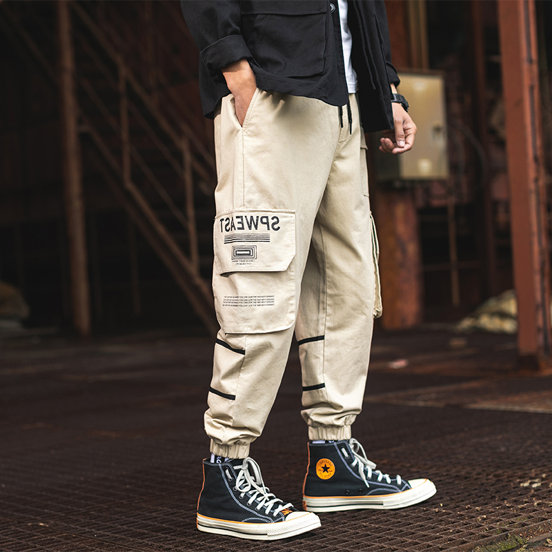 RLJT.JIN 2019 New High Quality Hip Hop Street Style Casual Men Overalls Jogger Baggy Mens Smallfoot Pants With Multiple Pockets