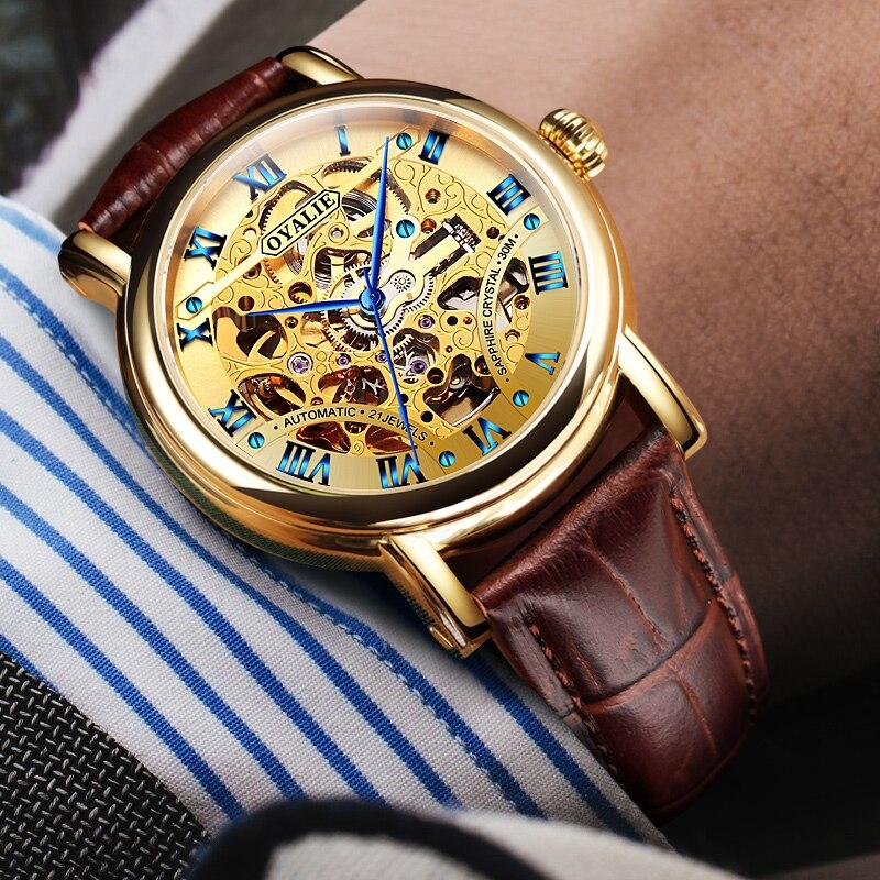 Automático dos Homens à Prova Relógio de Ouro Automático dos Homens da Correia do Núcleo da Máquina Moda Relógio Água Verdadeiro Oco d'