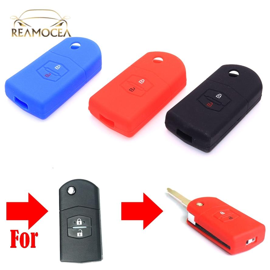 Reamocea 2 Buttons Silicone Car Key Cover Fit for Mazda 2 3 5 6 RX8 CX5 CX-7 CX-9 MX5 RX Demio MPV Flip Remote Fob Case Holder