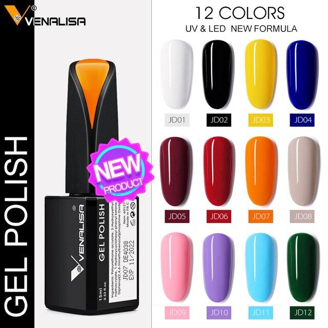 VENALISA No-wipe Top Coat 12ml Nail Art Gel Polish Shiny Glass Bottle Gel Nail Polish UV LED Base Foundation Super Matt Top Coat 4