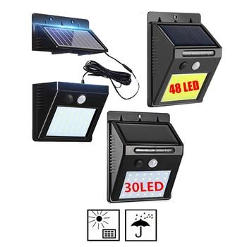 48/30 LED Solar Power Lamp PIR Motion Sensor Wall Light Outdoor Waterproof Energy Saving Street Garden Yard Security light integ