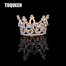 TDQUEEN Tiaras And Crowns Golden Silver Plated Full Round Rhinestone Crystal Baby Girls Christmans Gift Present Hair Accessories