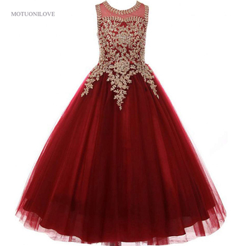 Wine Red With Gold Appliqued Beaded Little Girls Pageant Dresses 2020 Holy Communion Dress Children's Birthday Party Prom Gowns