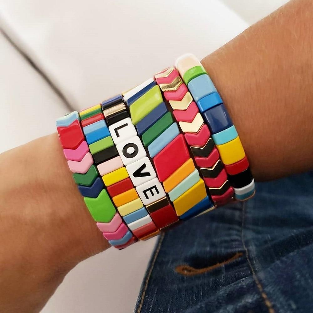 Shinus Rainbow Bracelet Friendship Bracelets For Women Jewelry Boho Summer Pulseiras Mujer 2020 LOVE Letter Tile Beads Bracelet(China)