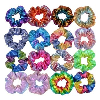 6 Pcs Fashion Set Glitter Scrunchie Colorful Elastic Hair Tie Band Ponytail Holder Pack Accessories