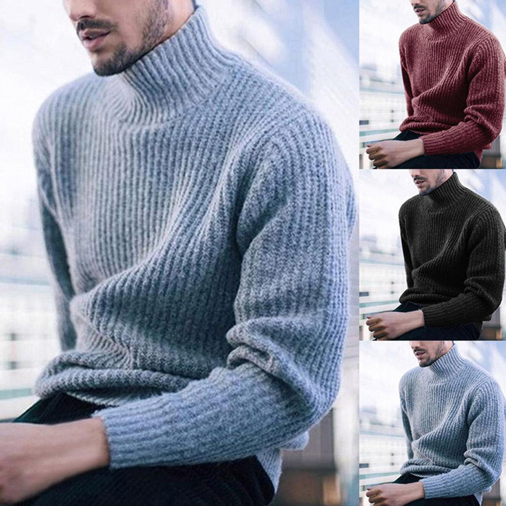 Fashion Men Sweaters Solid Color Turtleneck Long Sleeve Casual Pullover Knitted Sweater Men's  Clothes Knitted Pullovers