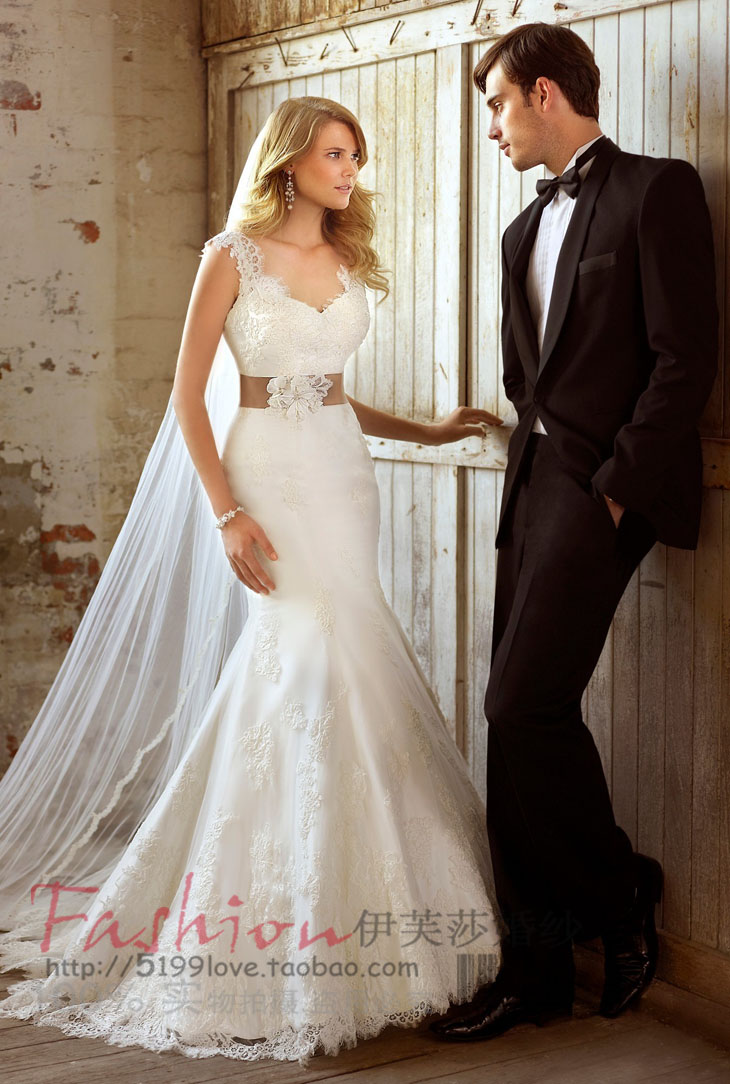 2016 Natural Floor-length Mermaid Scoop Promotion Wedding Dress Fashion Vintage Long Sexy Fish Tail Bridal Belt Formal Gowns