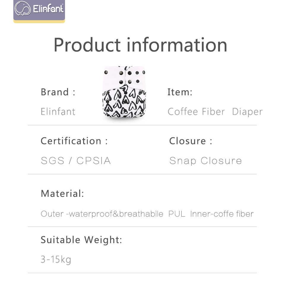 Elinfant pañal ecológico nuevo 4 unids/set lavable café Malla tela pañal cubierta pañal ajustable tela reutilizable pañales de bolsillo