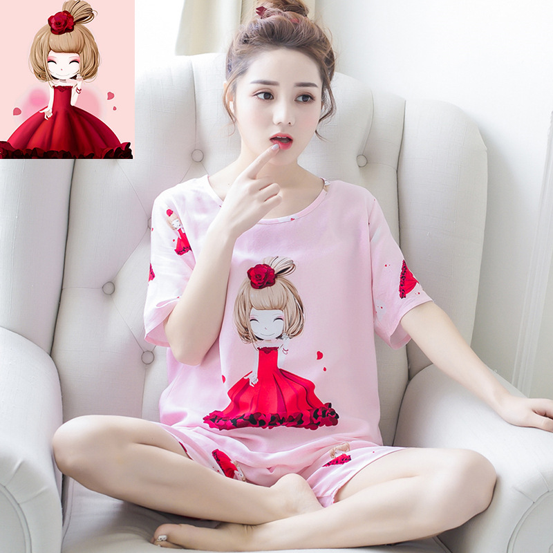 Korean Style Short Sleeve Pajamas Female Spring Summer Thin Section Sweet Asters Girl Printed Tracksuit-Outer Wear