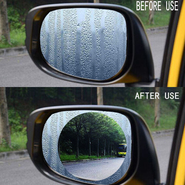 2PCS/Set Anti Fog Car Mirror Window Clear Film Anti glare Car Rearview Mirror Protective Film Waterproof Rainproof Car Sticker