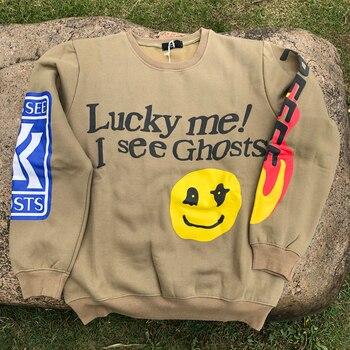 I Wee Ghosts Fall Mens Crewneck Sweatshirt Yellow Smiley Face Kanye Hoodless Oversized Long Sleeve Soft Homewear Clothing 2