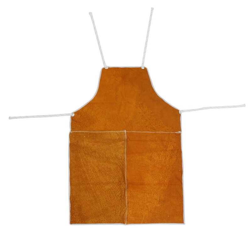 Full Cowhide Leather Electric Welding Apron Bib Blacksmith Apron Yellow Electric Welding Safety Clothing Welding Apron