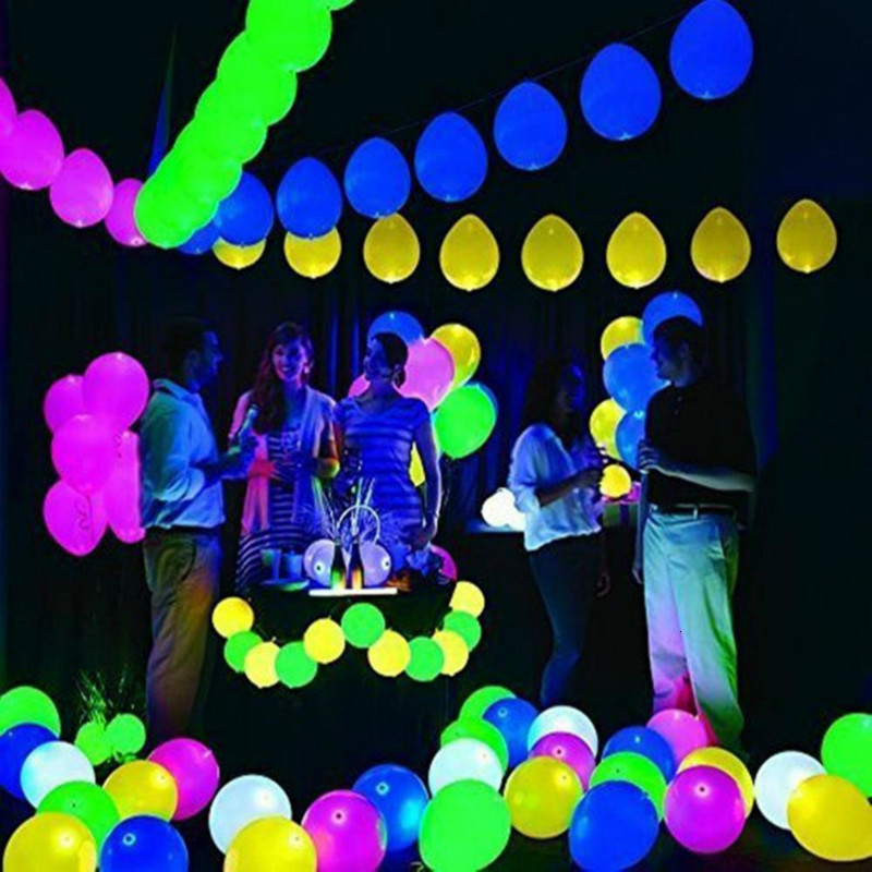 100pcs LED Flash Luminous Face Balloons Wedding Party Decoration Christmas Festival Decor In Dark Toy
