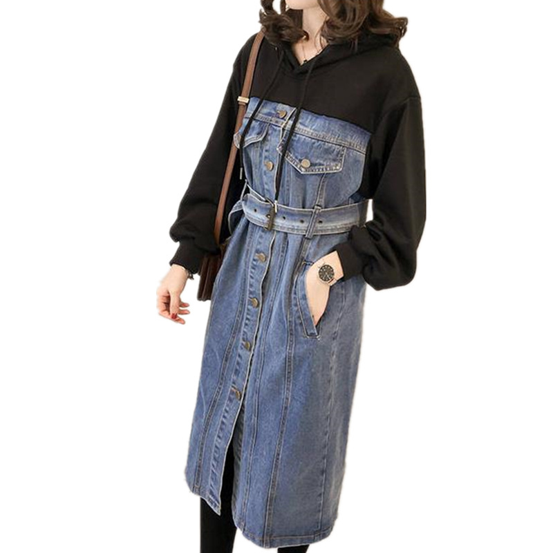 2020 NEW Denim Hooded Long Sleeve Shirt Midi Autumn Casual Skater Dress Jeans Women With Sashes Plus Size Ladies Dresses Female(China)