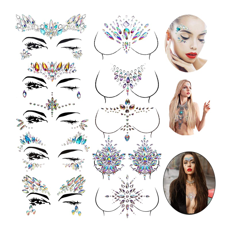 10 Sets Face Gems Stickers Breast Body Jewelry Stickers Crystal Nipple Tattoo Stickers For Festival Rhinestone Decorations Tatto