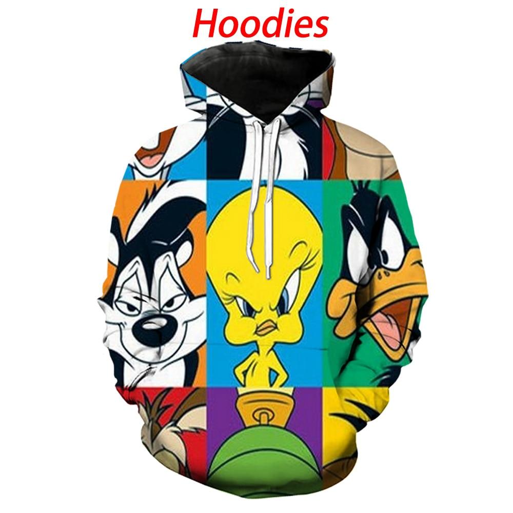 Cartoon Looney Tunes Hoodies 3d Print Hoody/tee Shirts/sweatshirts/pants/polo Shirts Men Harajuku Funny Streetwear Hip Hop Coat