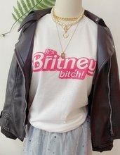 Camiseta de HJN, camiseta de HJN, con estampado de HJN, británico, Bitch Camiseta de algodón de talla grande, camiseta informal de manga corta impresionante de verano