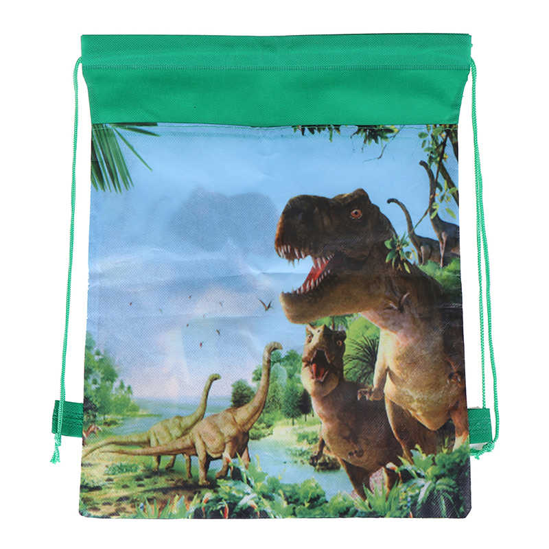 Non-woven Cartoon Cute Dinosaur Theme Decorate Fabric Baby Shower Drawstring Gifts Bags Birthday Party Boys Favors