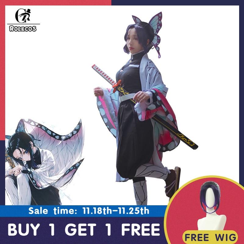 Rolecos anime demônio slayer cosplay traje kochou shinobu kimetsu não yaiba cosplay traje de halloween mulher quimono uniforme manto