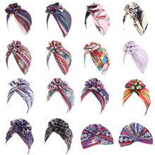 Bonnet rond à grande fleur pour femmes, Turban en coton, imprimé Floral, chapeaux de chimiothérapie du Cancer, bonnets, Hijabs, accessoires pour la perte de cheveux
