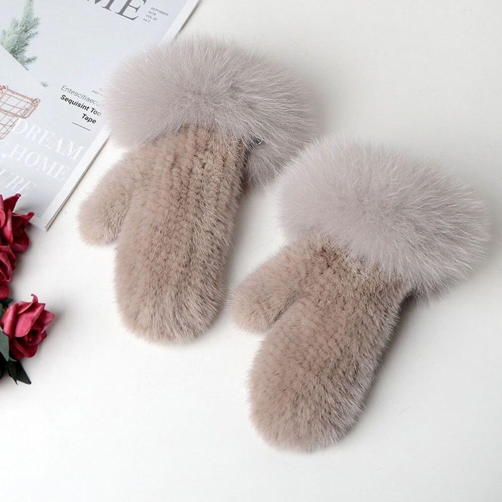 Новинка 2019, женские вязаные перчатки из меха норки, зимние теплые уличные меховые перчатки из меха лисы, HN281 - 4