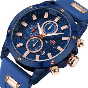 Image 2 - Minifocus moda masculina esporte relógios homem quartzo relógio analógico pulseira de silicone militar à prova dmilitary água relógio relogio masculino