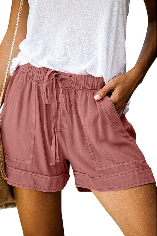 Femme Plus la Taille de Cordon Shorts Casual Confortable Taille /Élastique Solide Pliss/é Pantalon Court