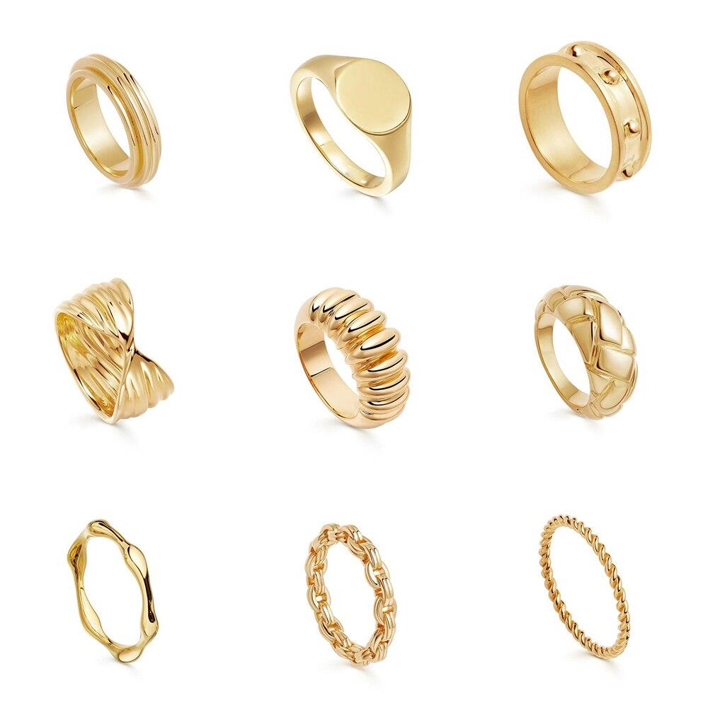 2021 yeni konu dokulu altın yüzük kadınlar için Minimalist oyma Rhombus tıknaz yüzük Vintage zincir yüzük takı