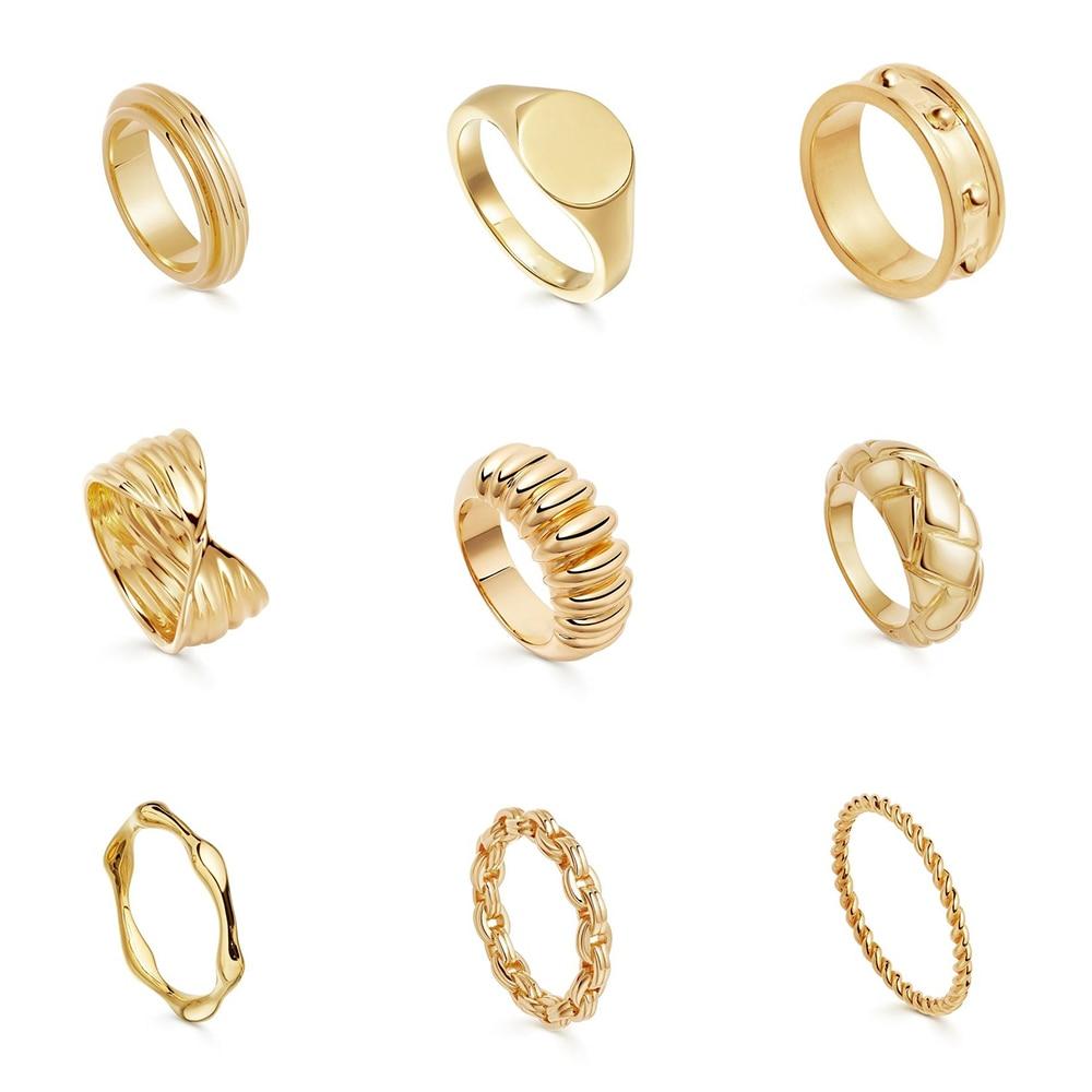 2021 nuovi fili anelli in oro testurizzati per le donne minimalista intagliato rombo anelli robusti anelli a catena Vintage gioielli