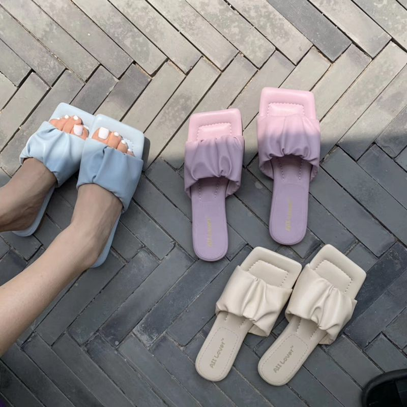 Bailehou 2020 Brand Pleated Slippers Soft Sole Square Toe Flat Slides Ladies Summer Beach Flip Flops Sandals Women Outdoor Slide