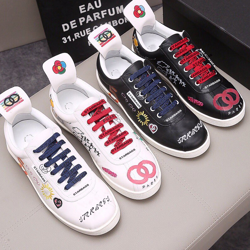 Bag PP Original Skull Logo Italian New Fashion Sports Leisure Men's Shoes Genuine Leather Street Graffiti Punk Flat Shoes Lovers