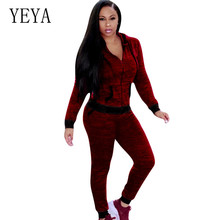 YEYA New Fashion Women Sexy Jumpsuits Long Sleeve High Waist Playsuits Two Pieces Sets Hoodies Street Wear Casual Trousers