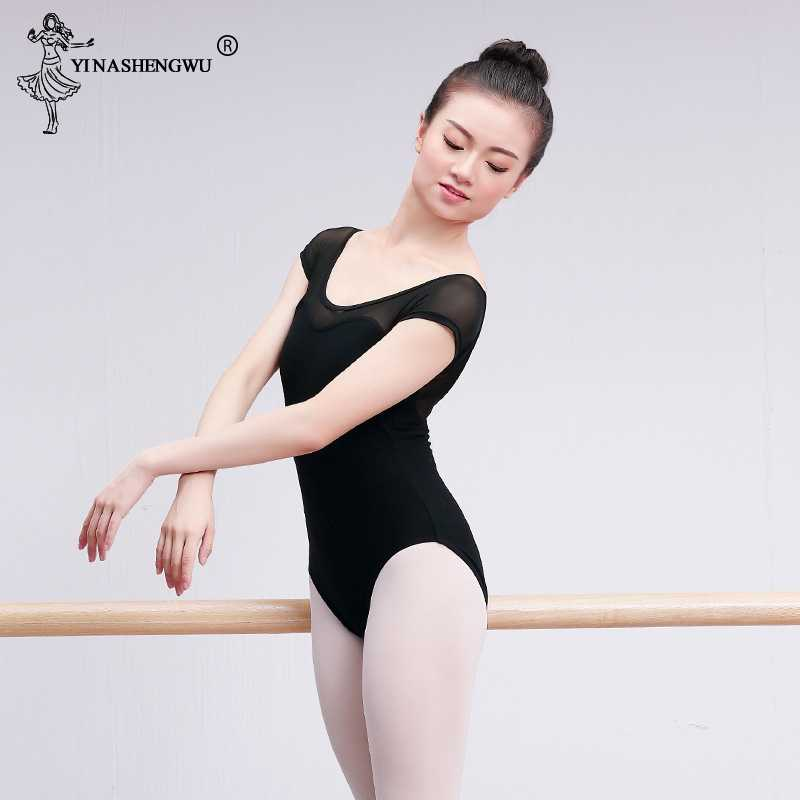 Kobiety czarna siatka taniec trykoty z krótkim rękawem trykoty baletowe baletowy dla dorosłych praktyka kostium taneczny trykoty gimnastyczne kombinezon