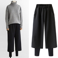 Autumn and winter new thick woolen wide leg pants female loose woolen fake two pieces nine pants trousers casual pants