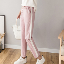 Women Casual Loose Pants Cotton Striped Mid-waist Korea Style Drawstring Wild Fashion