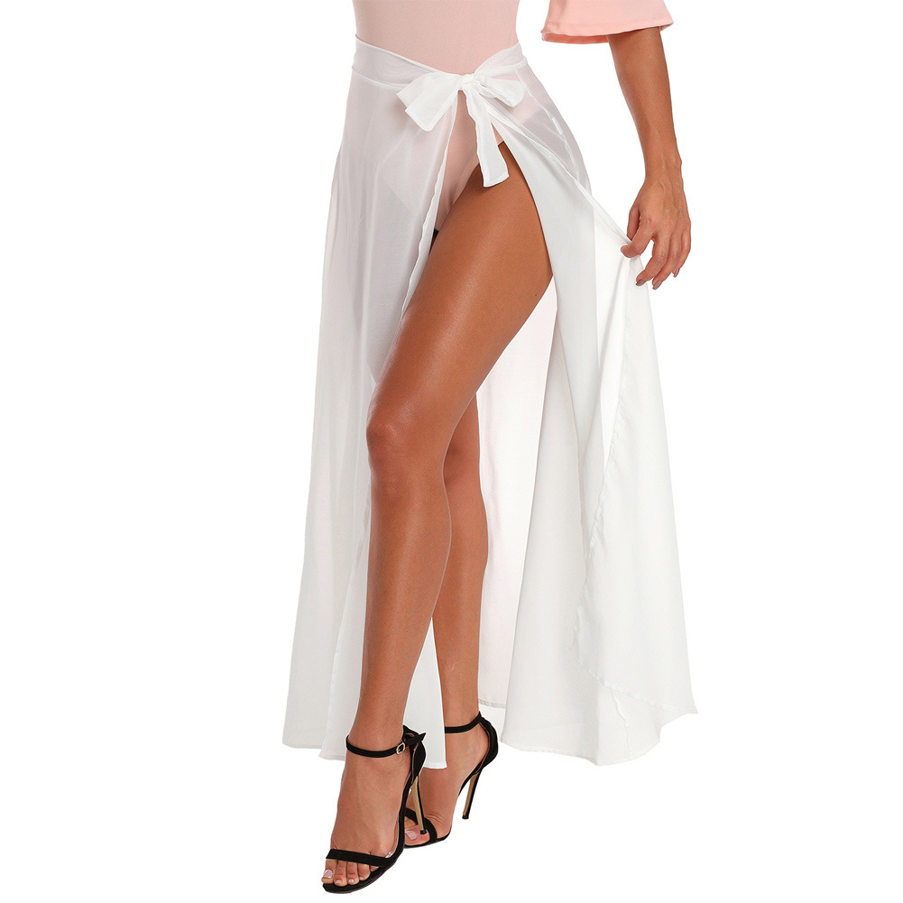 Pa Meng Summer New Style WOMEN'S Dress Maxi Formal Dress Tulle High-waisted Chic Lace-up Slit Beach Skirt 42275