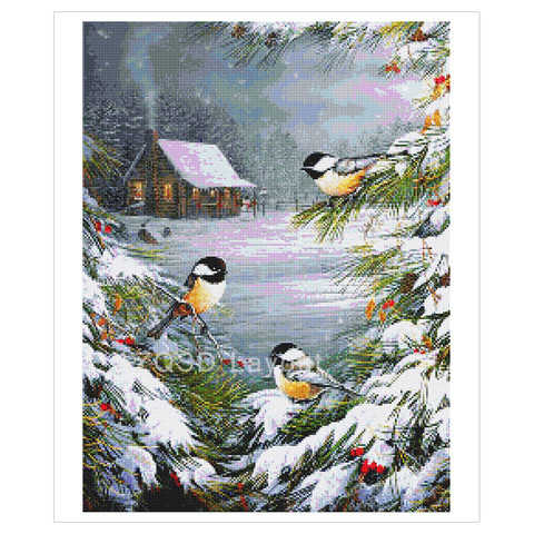 AZQSD Diamond Painting Winter Birds Cross Stitch Wall Art Needlework Picture Of Rhinestones Gift Handmade Home Decoration Lahore