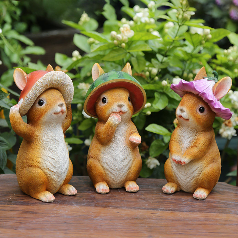 Outdoor Simulation Rabbit Resin Ornaments Garden Home Desktop Animal Figurines Decoration Courtyard Groceries Sculpture Crafts