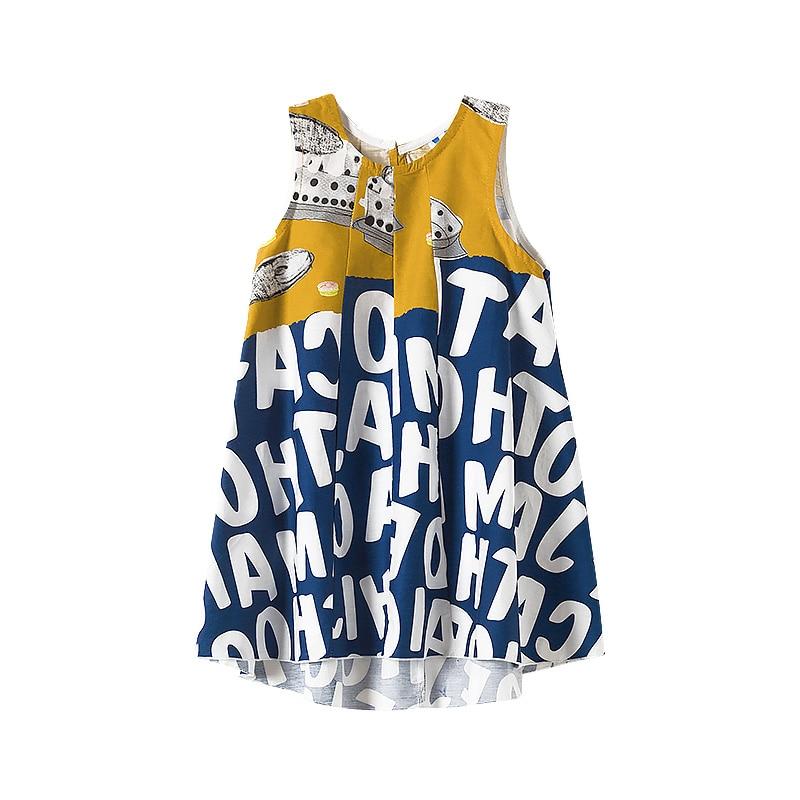 New 2020 Summer Personality Girls Dresses Beach Kids Letter Dresses Baby Casual Dresses Toddler Children Sundress Toddler, #9053