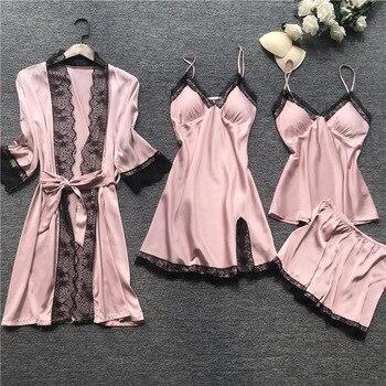 2019 Women Pajamas Sets Satin Sleepwear Silk 4 Pieces Nightwear Pyjama Spaghetti Strap Lace Sleep Lounge Pijama With Chest Pads 2
