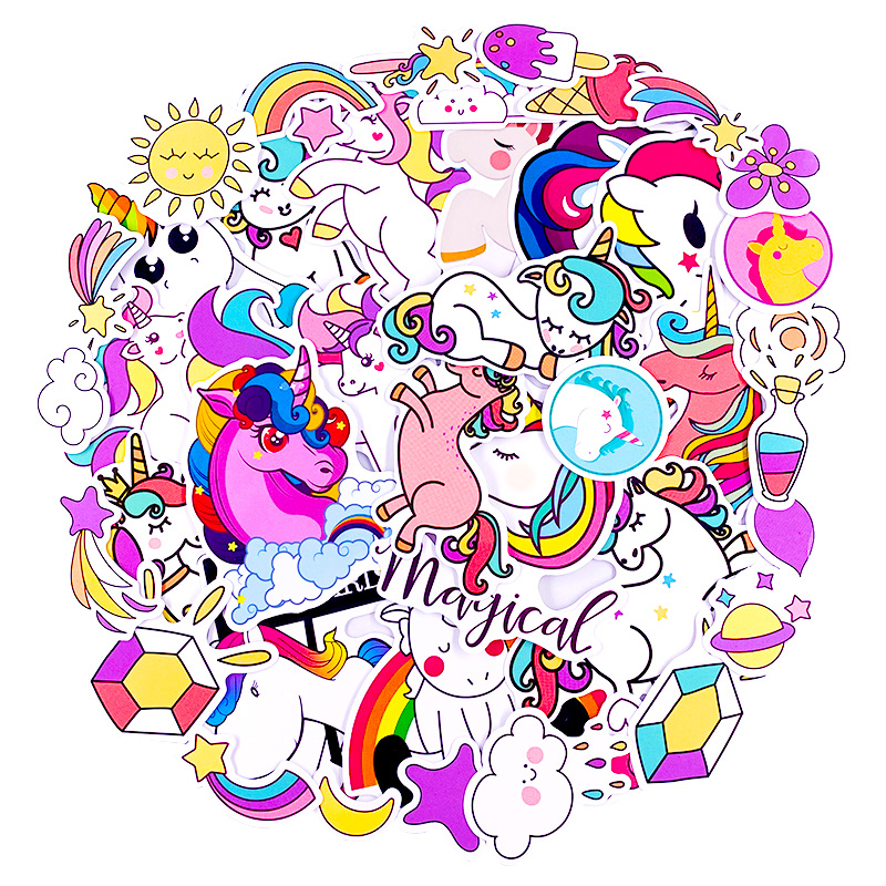 60Pcs Unicorn Stickers Cartoon Animal Light National Flag Waterproof Diy Sticker For Bike Luggage Notebook Car Laptop